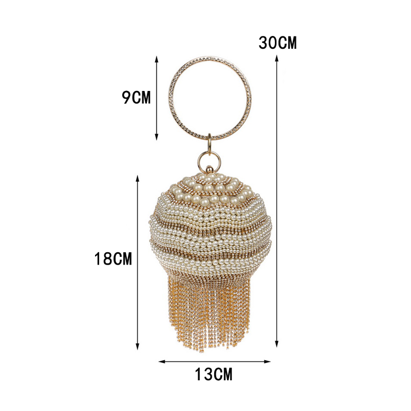 Image 4 - SEKUSA Ball Diamond Tassel Women Party Metal Crystal Clutches Evening  Wedding Bag Bridal Shoulder Handbag Wristlets ClutchClutches   -