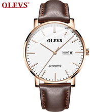 Olevs новые мужские часы с кожаным ремешком официальными аутентичными
