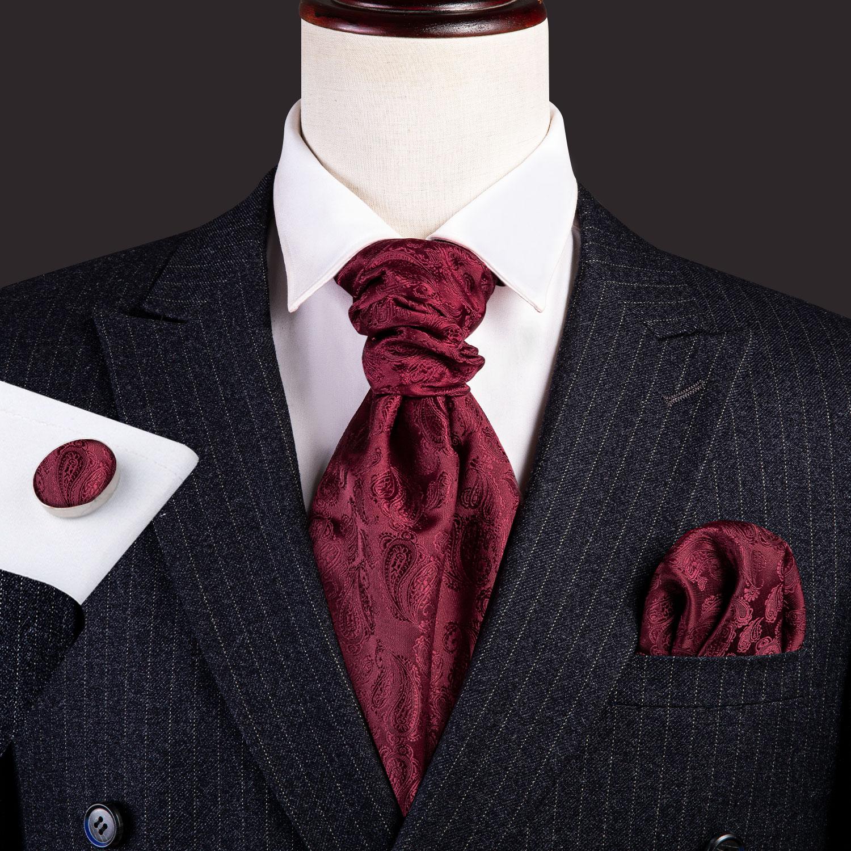 Silk Cravat Ascot Tie For Men Scarf  Suit Wine Red Mens Neck Wear Jacquard Set Fashion Pocket Square Cufflinks Barry.Wang AS-001