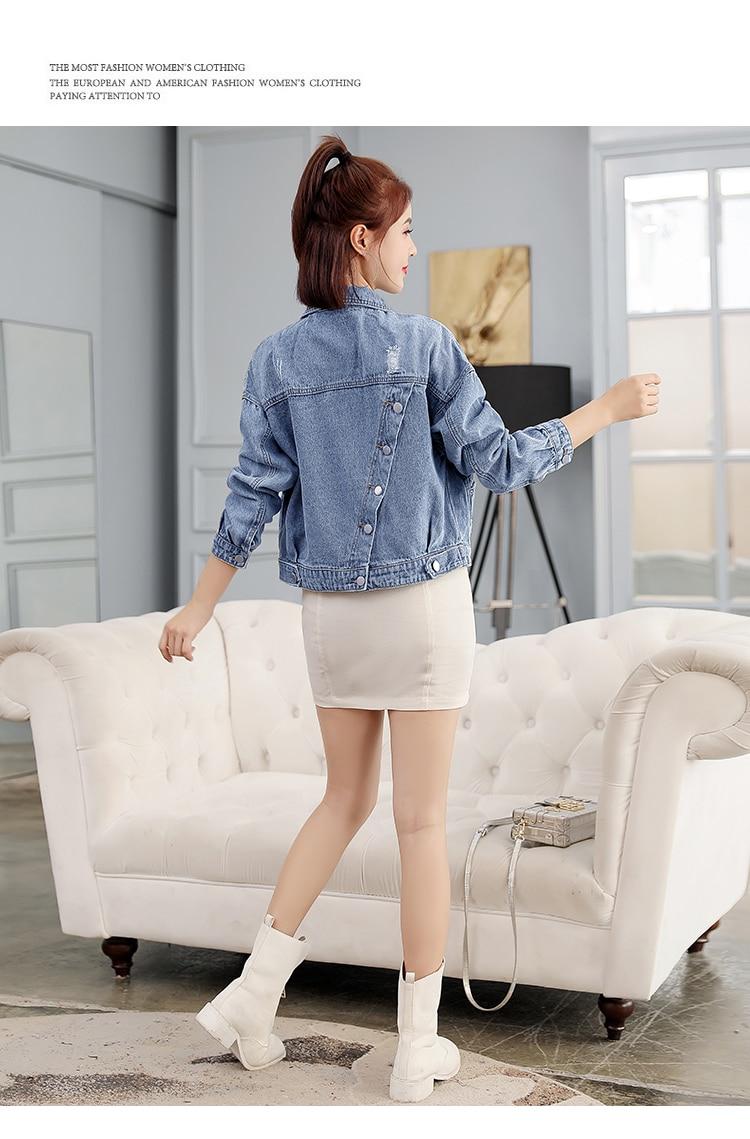 casaco senhoras jean jaquetas turn down collar