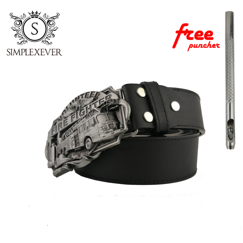 FIRE FIGHTERS Men's Vintage Western Cowboy Belt Buckle Head Fashion Zinc Alloy Belt Buckle With Belt As Gifts