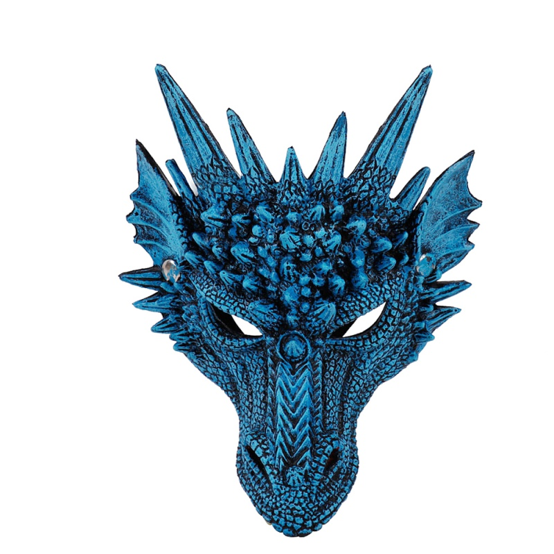 Mask 4D Blue Dragon Halloween Mask Half Face Mask Costume Party Decorations Soft Cosplay Scared Halloween Mask For Kids Teens