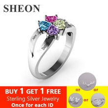 SHEON Genuine 925 Sterling Silver Personalized Engraved Mothers Love and Luck Birthstones Ring Sliver Jewelry Gift