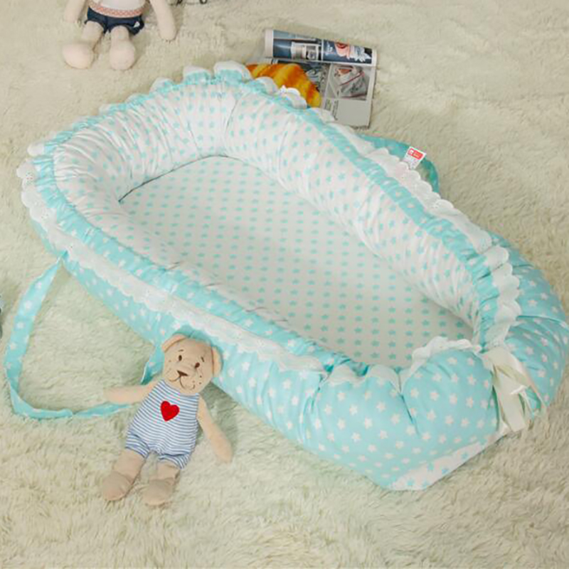 Infant Baby Crib Portable Cot Cotton Basket Travel Crib Safety Protection Bedclothes Removable Comfortable YHM015