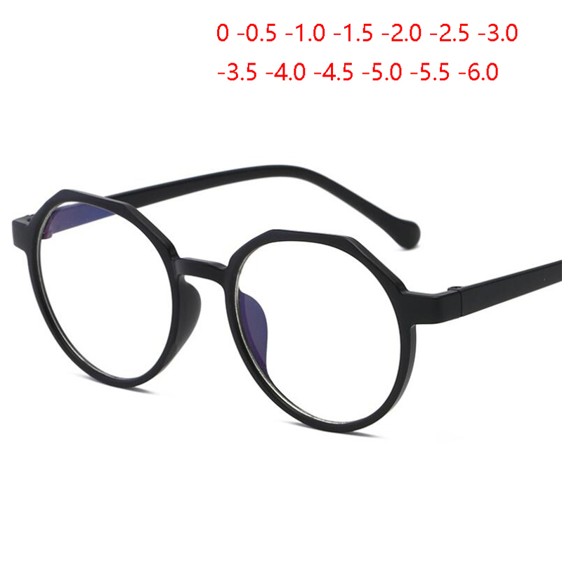 Retro Round Optics Eyeglasses Women Men Fashion Clear Mirror Myopia Lens Nearsighted Glasses 0 -0.5 -1.0 -1.5 To -6.0