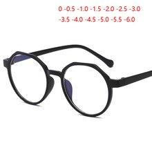 Gafas ópticas redondas Retro Para hombre y mujer, lentes de miopía con espejo transparente a la moda, para miopía, 0-0,5-1,0-1,5 a-6,0