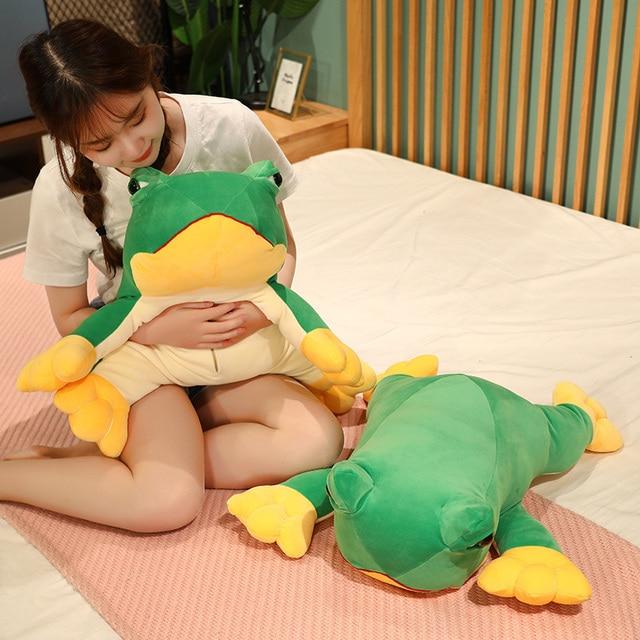 12~60cm Jumping Green Frog Doll Lying Cute Animal Soft Plushie Cartoon Pendant Decorate Children Present 2