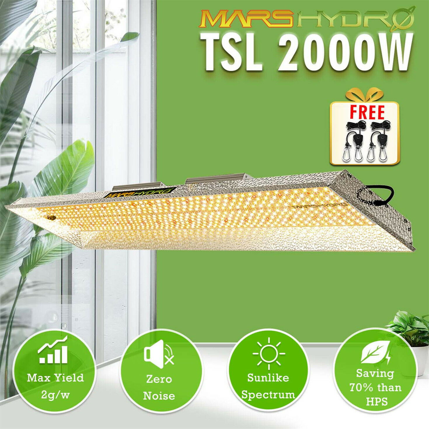 Mars Hydro TSL 2000W LED Grow Light Sunlike Full Spectrum For Veg And Bloom Hydroponics