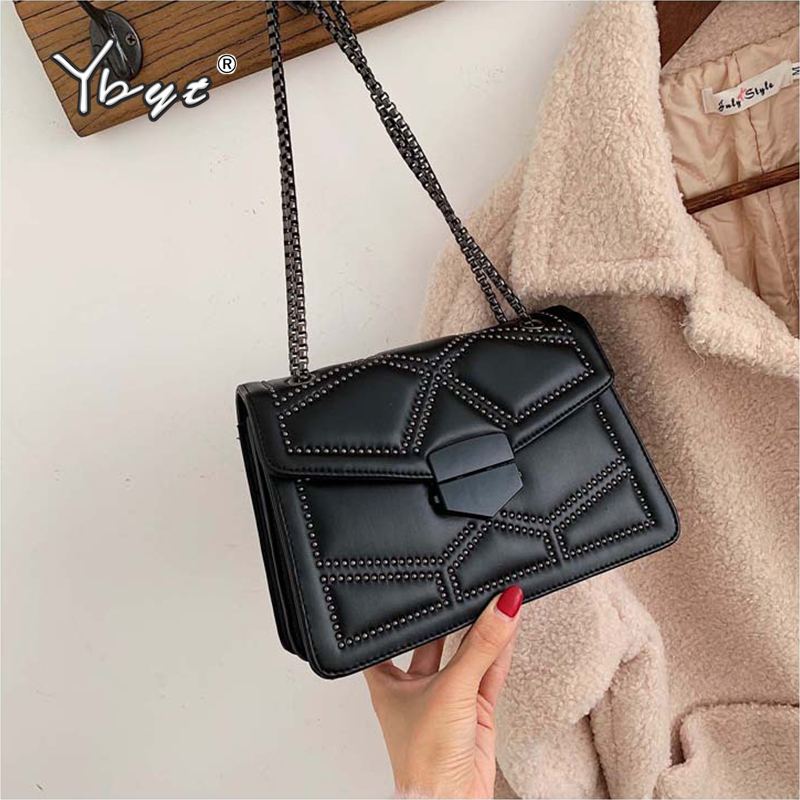 YBYT Retro Rivet Small Messenger Bags For Women 2019 Winter PU Leather Female Luxury Top-handle Bags Clutches Chain Shoulder Bag