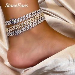 Stonefans 1 шт. хип-хоп, кубинский браслет на ногу, оптовая продажа ювелирных изделий для женщин, стразы со льдом, блестящий браслет на босую ногу, ...