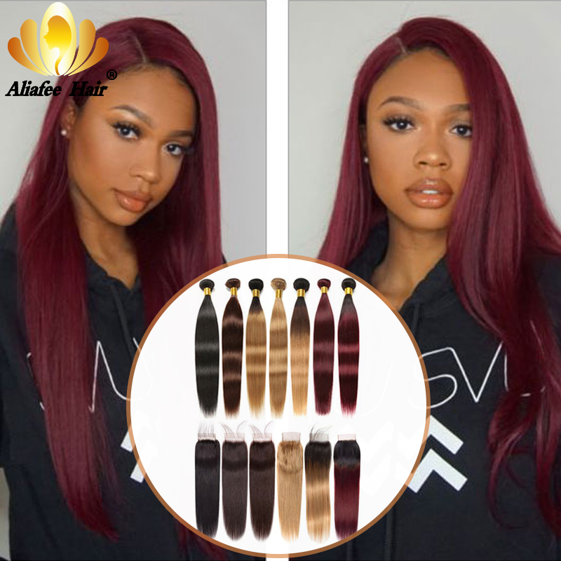 Aliafee Ombre Color Straight Hair Bundles With Closure Peruvian Human Hair Bundles With 4*4 Lace Closure Remy Hair Extensions