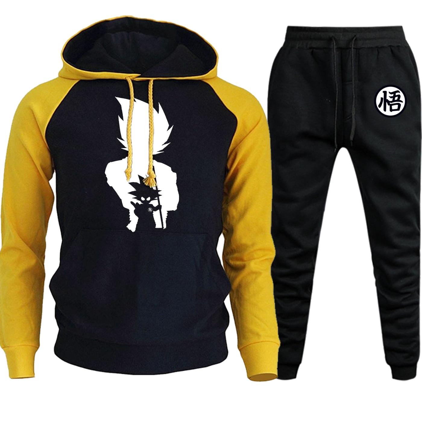 Dragon Ball New Autumn Winter Hooded Mens Raglan Sweatshirts Cartoon Print Suit Male Hoodie Casual Pullover+Pants 2 Piece Set