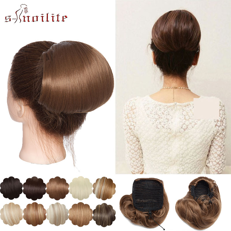 SNOILITE Scrunchy Hair Bun Synthetic Straight Hair Extension Updo Donut Chignon Drawstring Chignon Clips In Hairpiece Ponytail