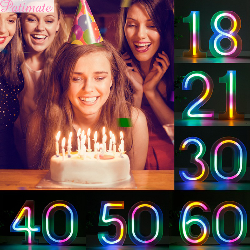 PATIMATE Colorful Number Light Happy Birthday <font><b>Party</b></font> <font><b>Decoration</b></font> 18 21 <font><b>30</b></font> 40 60 Birthday <font><b>Party</b></font> Supplies Wedding Anniversary favors image