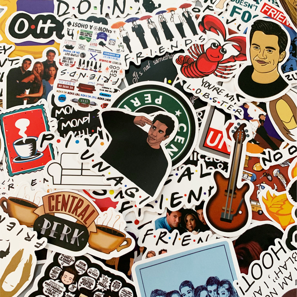 American TV Friends Stickers TV Series Show Gifts For Suitcase DIY Laptop Guitar Skateboard Phone Waterproof Stickers 50pcs