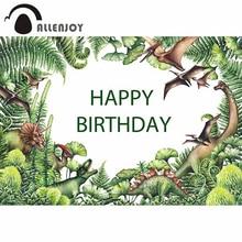 Allenjoy fundos para fotografia estúdio aguarela dinossauro verde planta pré histórica pintados à mão pano de fundo jurássico photocall