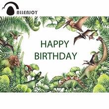 사진 스튜디오에 대 한 Allenjoy 배경 수채화 공룡 녹색 선사 시대 식물 손으로 그린 배경 쥬 라 기 photocall