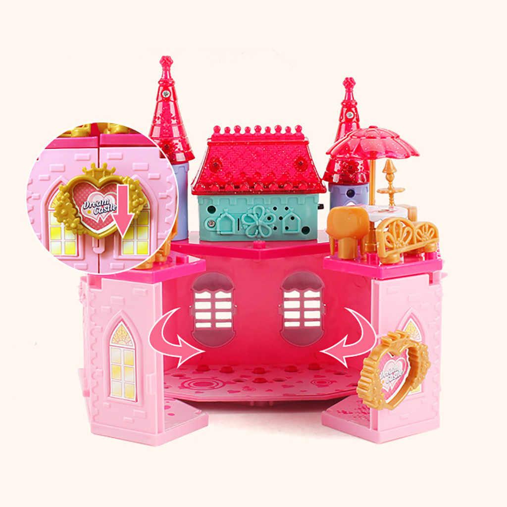 Transformado Princfess Castillo muebles para casa de muñecas escena en miniatura para los niños regalos de cumpleaños Diy modelo miniaturas Mini muñeca casas Juguetes