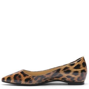 YECHNE Leopard Print Women's Platform Shoes Pointed Toe Flats Fashion Spring Autumn Shallow Platform Ballet Shoes Yellow