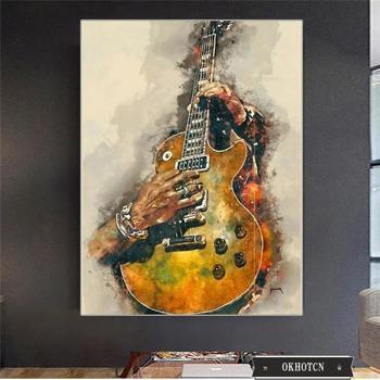Wall Art Graffiti Painting Rock Guitar Printed on Canvas 5