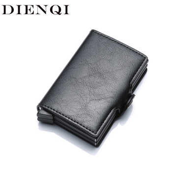 DIENQI Aluminium Rfid Wallet Male Big Coin Purse Men Leather Double Personalized Wallet Pocket Money Bag Credit Card Cases 2020 - Category 🛒 All Category