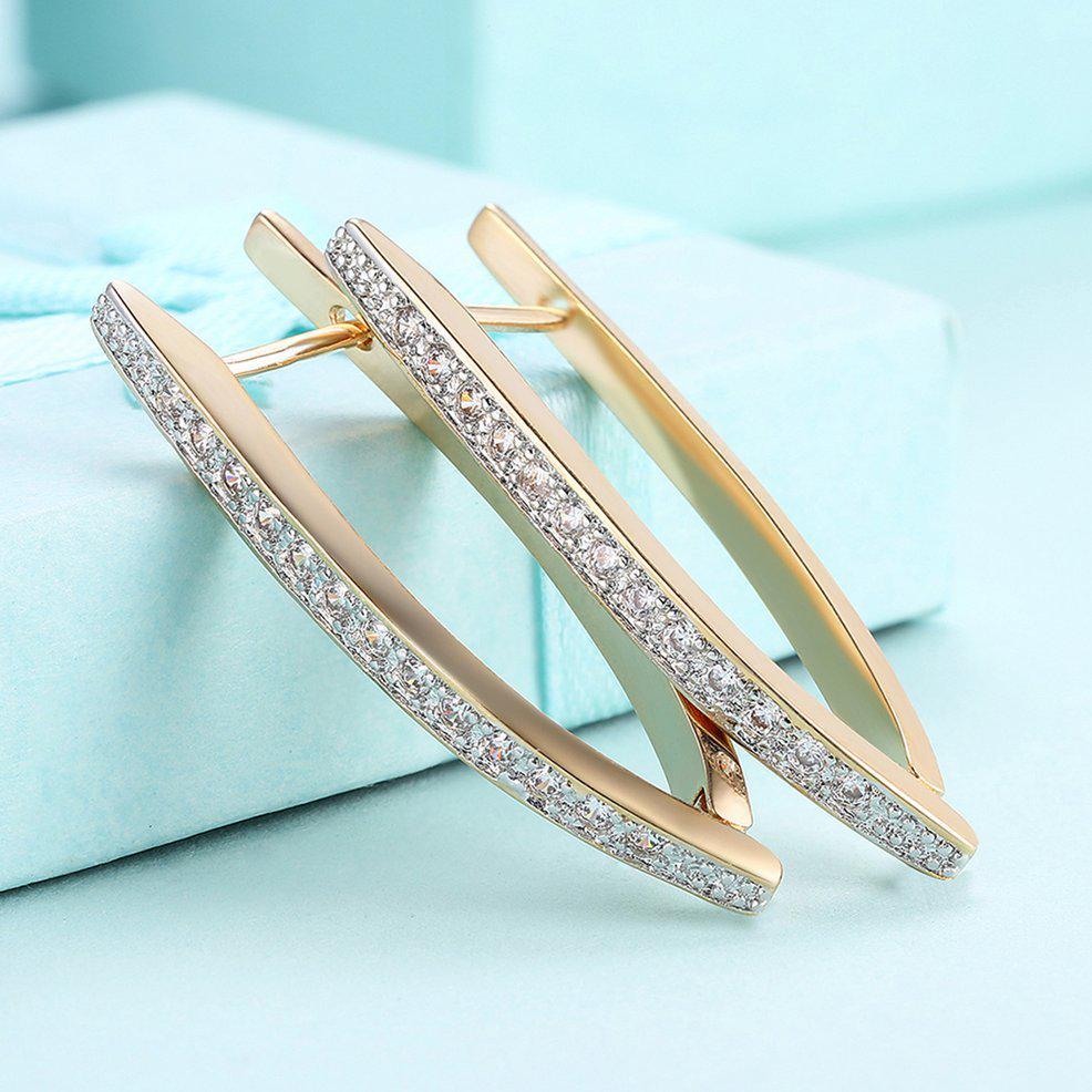 Long V Shaped Hoop Earrings Champagne Gold Color European Style Womens Girls Single Row Zirconia Earrings Fashion Jewelry Gift