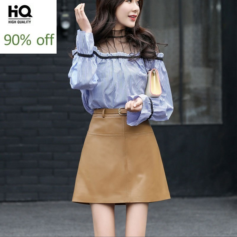 2020 Fashion Elegant Ladies Slim Fit Office Skirt Women High Waist Party Genuine Leather Belted A Line Mini Skirts Khaki Black