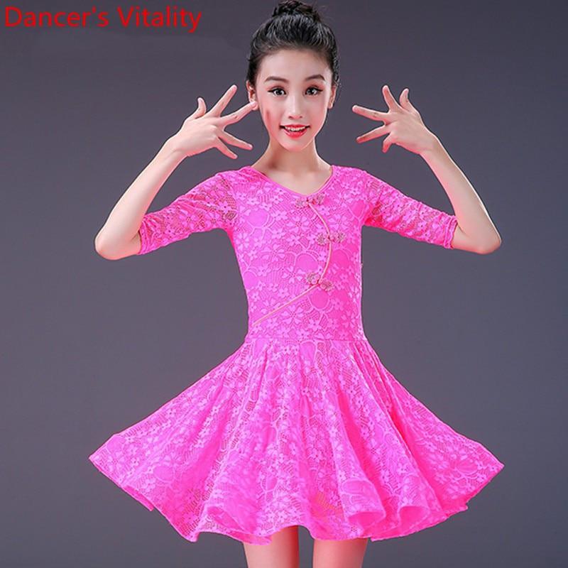 Kids Girls Latin Dance Wear 3 Color Slim Fit Lace Dress Cha Cha Salsa Foxtrot Dancing Performance Costume Practice Training Suit