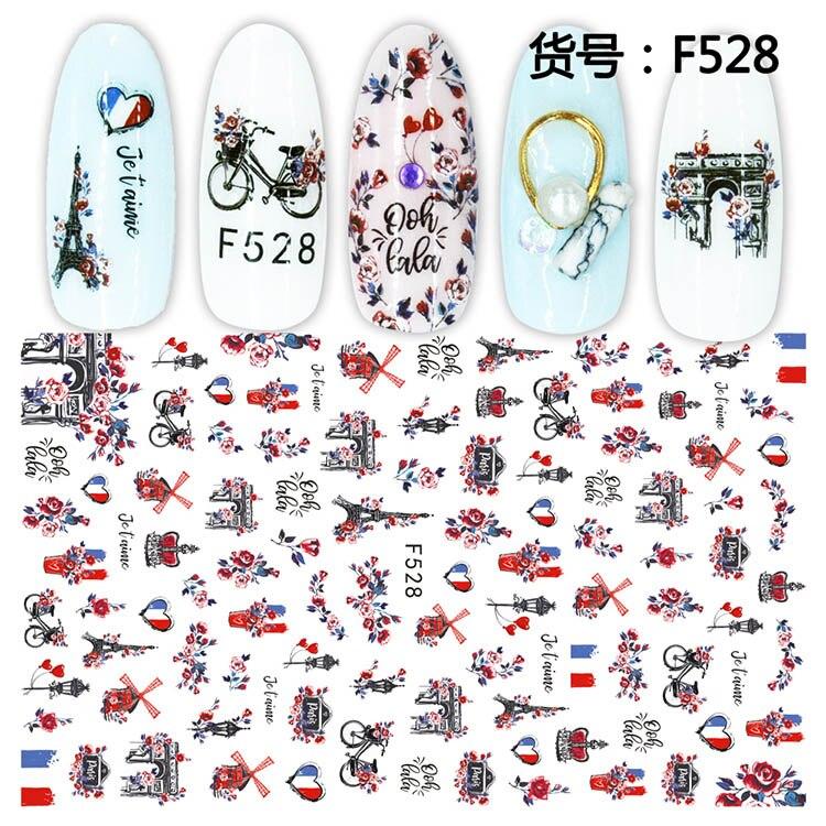 3D наклейки для ногтей, слайдер для ногтей, художественные наклейки для тату, фольга, Эйфелева башня, дизайн велосипеда, украшения, клеящиеся кончики для маникюра, Pegatina, обертывания