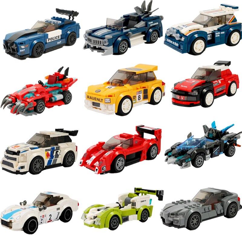 Technic City Blocks Compatible LegoINGlys City Building Block Racing Car Vehicle Sets Model Playmobil Building Toys For Children