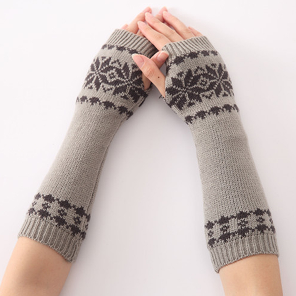Gift Snow Pattern Warm Fingerless Long Winter Gloves Knit For Women Girls Arm