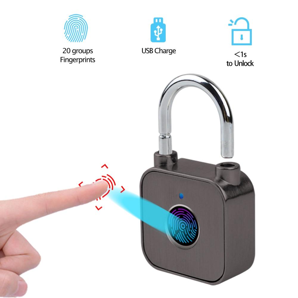HISMAHO Fingerprint Lock USB Aufladbare Wasserdichte Smart Thumbprint Vorhängeschloss Anti-theft Elektro Türschloss Für Gepäck Fall
