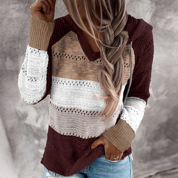 UEFEZO Women Elegant Long Sleeve Hooded Knitted Autumn Striped Sweaters V-Neck Pullovers Tops Knitwe