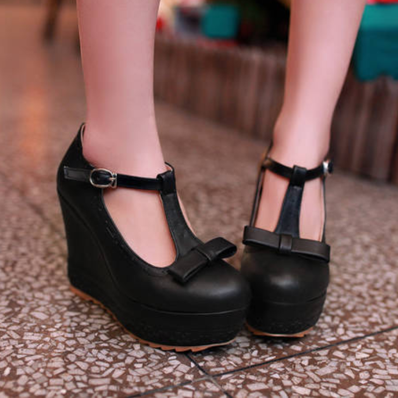 Details about  /Womens Platform Pumps Loafer Block High Heel Mary Jane Bowknot Shoes All US Size