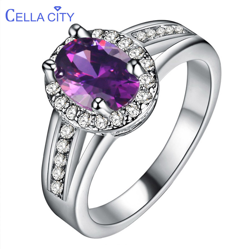 Cellacity Gemstones Silver 925 Jewelry Emerald Ring For Women Amethyst Zricon Sapphire Ruby Anniversary Female Gift Wholesale