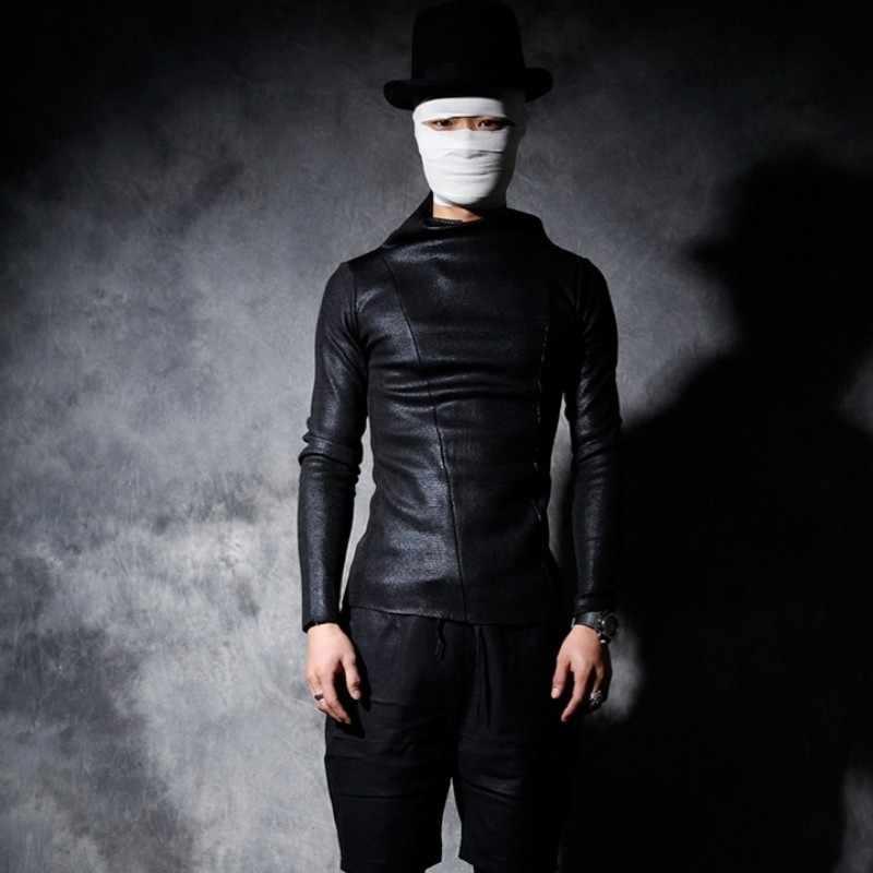 2020 새로운 남성 두꺼운 따뜻한 터틀넥 펑크 스타일 티셔츠 가을 겨울 한국 나이트 클럽 슬림 긴팔 티셔츠 남성 블랙 티셔츠