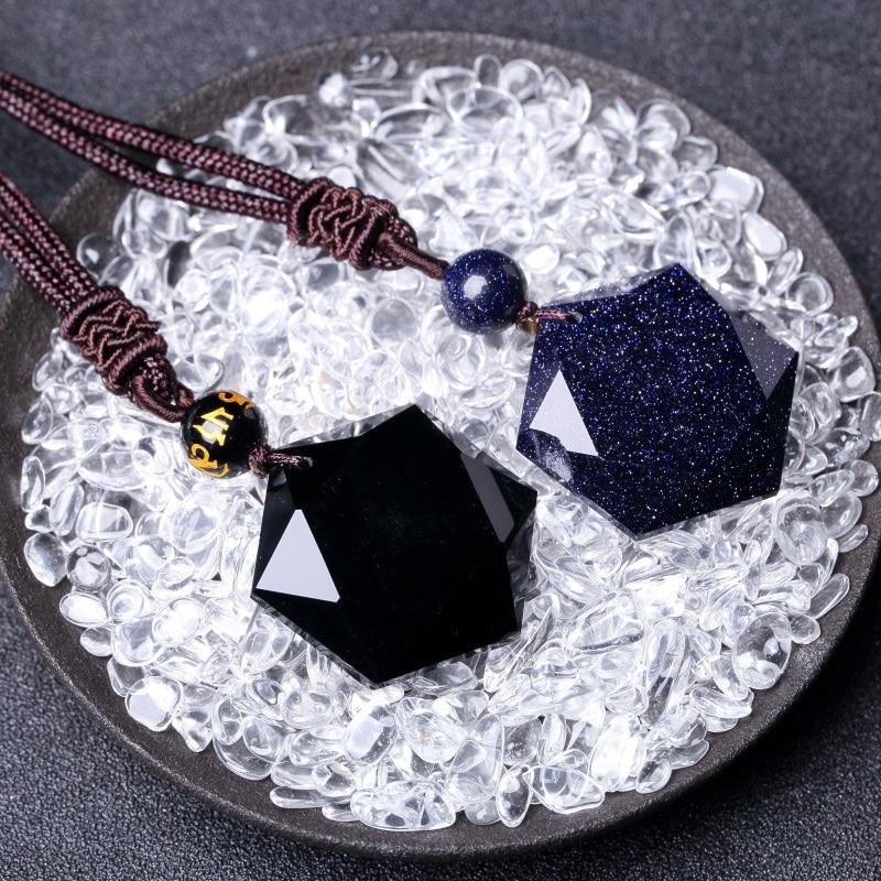 Fashion Obsidian Six Awn Star Pendant Necklace   Jewelry  Jade  Fine