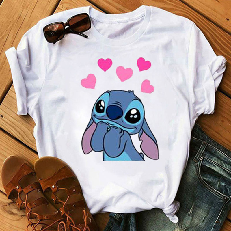 Maycaur New Lilo Stitch Tshirts Fashion Kawaii Graphic Print T Shirts Women Vogue Casual Short Sleeves Tops Tees Feamle Clothing