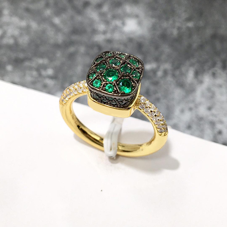 Классическое кольцо в форме сот, 7 видов цветов, зеленые, красные, синие кольца с кристаллами для женщин, модные украшения (DJ1224)
