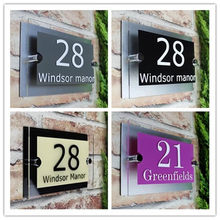 Customize Modern House Sign Plaque Door Number Street Name Glass Effect Acrylic Doorplate Number 200x140mm 300x140mm