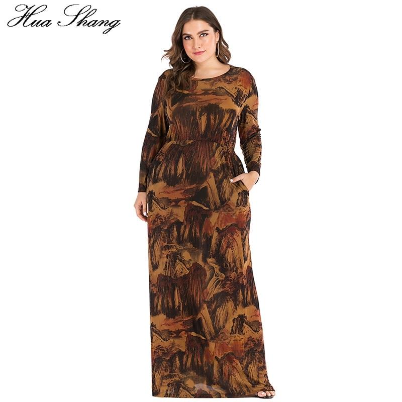6XL Plus Size Abayas Muslim Dress Women Autumn Winter Long Sleeve Retro Print Vintage Maxi Long Dresses Dubai Islamic Clothing Women Women's Abaya Women's Clothings
