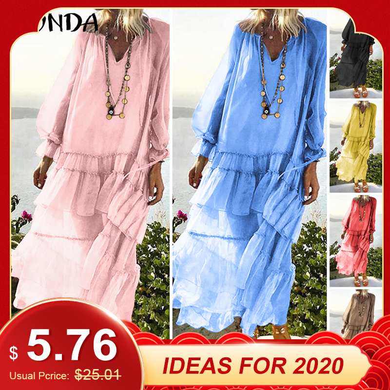 VONDA Bohemian Women Maxi Dress 2019 Summer Sexy V Neck Beach Vestido Transparent Casual Loose Vintage Layered Dress Plus Size