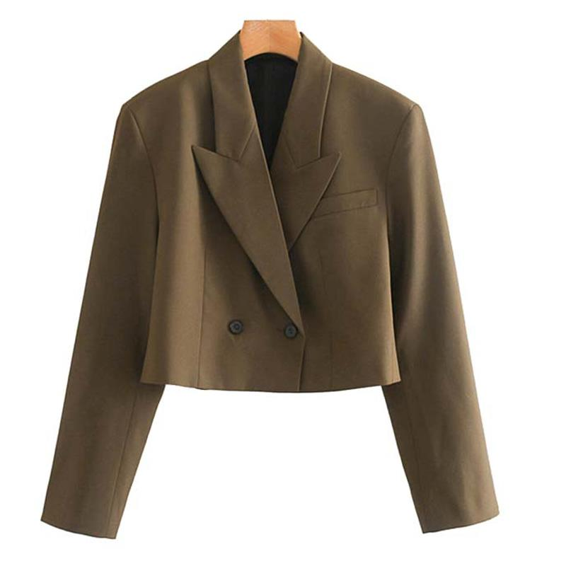 New Women Suit Double Breasted Blazers Coats Solid Office Short Blazers Casual Long Sleeve Jackets Work