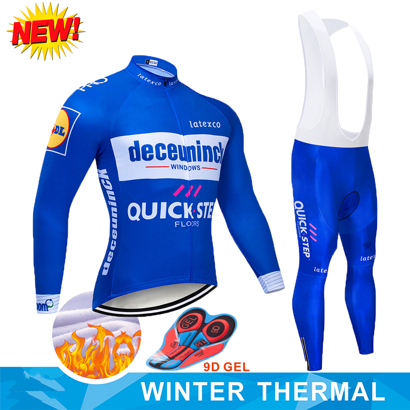 CYCLING JACKET Jersey Bike Maillot-Wear Quickstep-Team Winter Pants 9D Pro MEN Set Fleece title=
