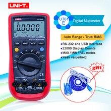 Multímetro Digital UNI T UT61A UT61B UT61C UT61E, valores eficaces auténticos, multímetro de interfaz RS232, rango automático con pantalla de retroiluminación LCD