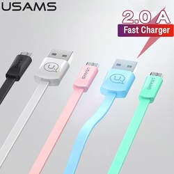 USAMS 2A Fast Charging Micro USB Cable Sync Data Microusb Cable for Iphone Samsung Xiaomi Huawei Android Mobile Phone Data Cable