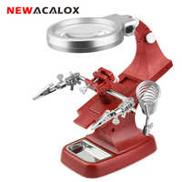 NEWACALOX LED Illuminated Desktop Magnifier Helping Hand Auxiliary Clamp Alligator Clip Stand 10 LED Lights Magnifying Glass