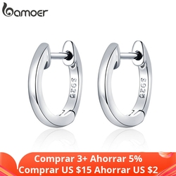 bamoer Genuine Sterling Silver 925 Hoop Earrings for Women 2 Color Tiny Ear Hoops Rose Gold Color Female Jewelry Brincos SCE808
