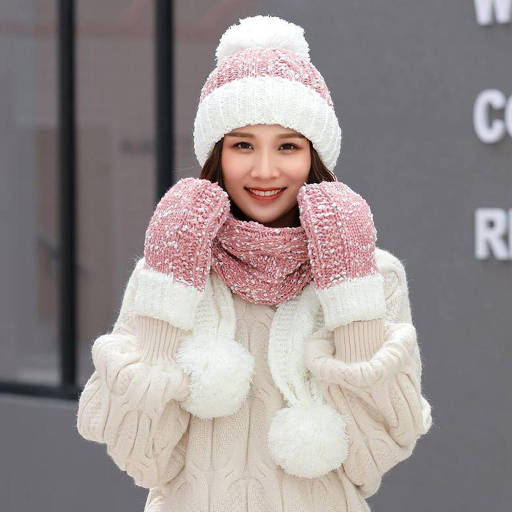 2019 Winter Hats For Woman 3Pcs  Warm Multicolor Knitted Venonat Beanie Hat+Scarf+Gloves Set Outdoor Ski Hat Czapka Zimowa