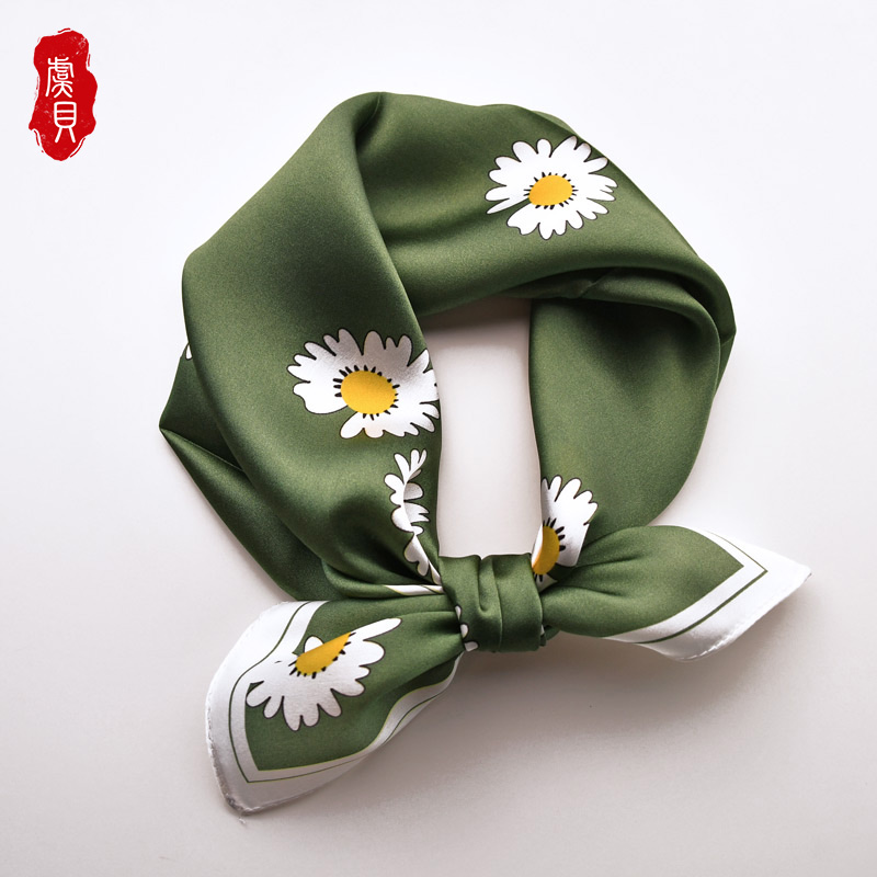 green yellow real silk scarf women printed daisy 50cm small square scarves lovely hair band foulard shawl gift for ladies girls|Women's Scarves| - AliExpress